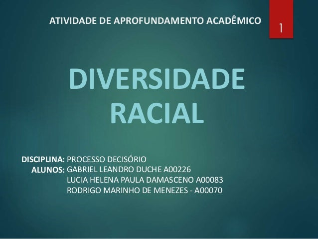 ATIVIDADE DE APROFUNDAMENTO ACADÊMICO DIVERSIDADE RACIAL 1 DISCIPLINA: PROCESSO DECISÓRIO GABRIEL LEANDRO DUCHE A00226 LUC...