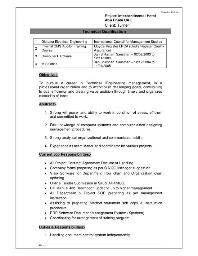 Cv Abdul Mannan Document Controller Qa Qc .  Controller Resume Sample