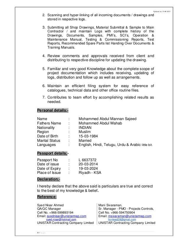 CV - Abdul Mannan Document Controller (QA-QC)