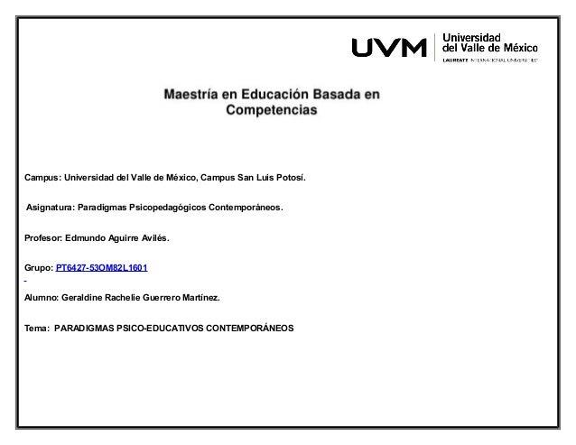Campus: Universidad del Valle de México, Campus San Luis Potosí. Asignatura: Paradigmas Psicopedagógicos Contemporáneos. P...