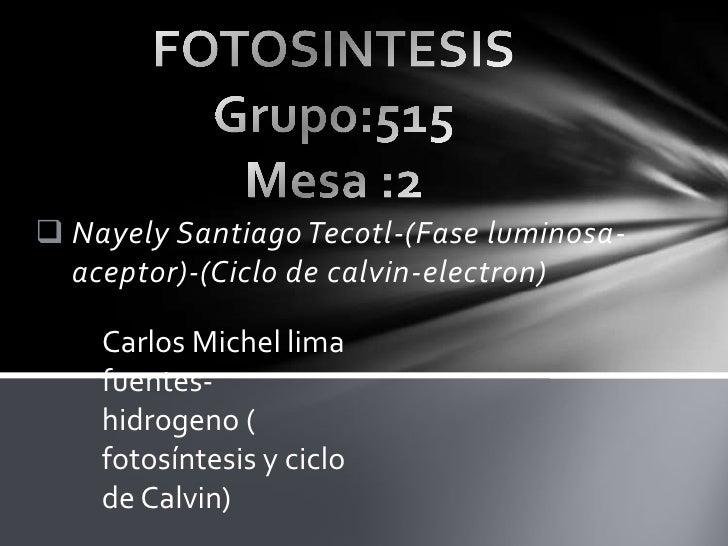  Nayely Santiago Tecotl-(Fase luminosa-  aceptor)-(Ciclo de calvin-electron)    Carlos Michel lima    fuentes-    hidroge...