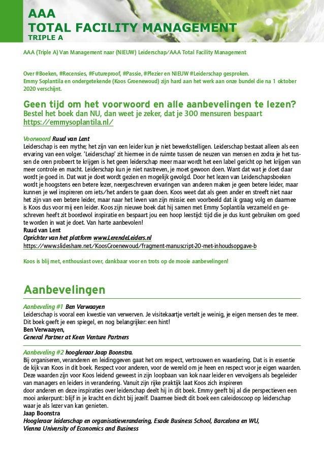 AAA (Triple A) Van Management naar (NIEUW) Leiderschap/AAA Total Facility Management Over #Boeken, #Recensies, #Futureproo...