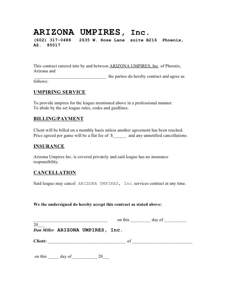 Arizona Umpires Contract Example 2009