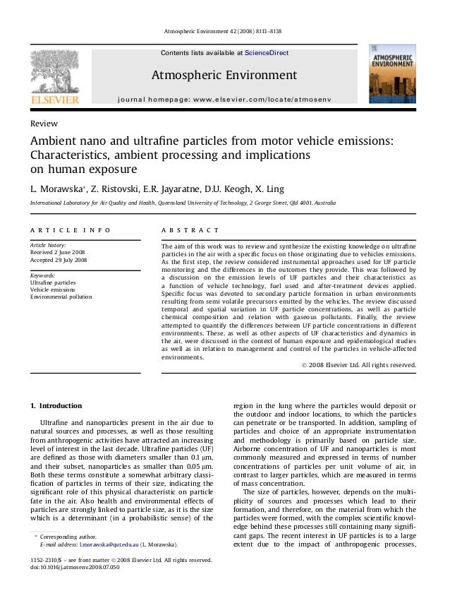 Review Ambient nano and ultrafine particles from motor vehicle emissions: Characteristics, ambient processing and implicati...