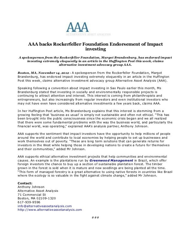 AAA backs Rockerfeller Foundation Endorsement of Impact                              investingA spokesperson from the Rock...