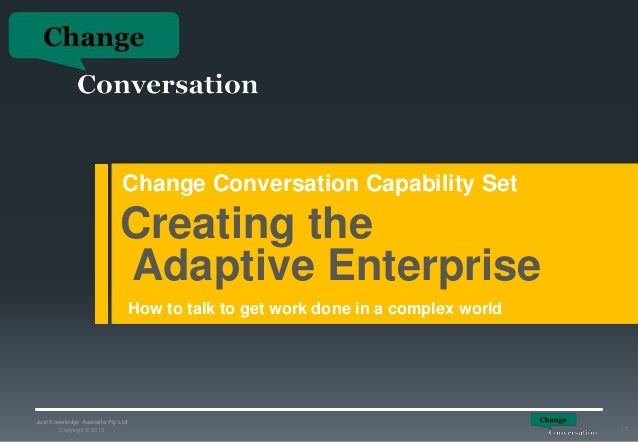 Change Conversation Capability Set  Creating the Adaptive Enterprise How to talk to get work done in a complex world  Just...