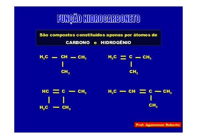 Prof. Agamenon RobertoSão compostos constituídos apenas por átomos deCARBONO e HIDROGÊNIOH3C CH3CH3CH H2C CH3CH3CCH3H3C C ...