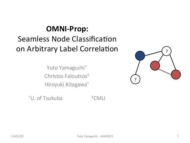 OMNI-­‐Prop:	    Seamless	   Node	   Classifica/on	    on	   Arbitrary	   Label	   Correla/on	 Yuto	   Yamaguchi†	    Chris...