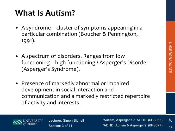 Section 3 - Autistic Disorder