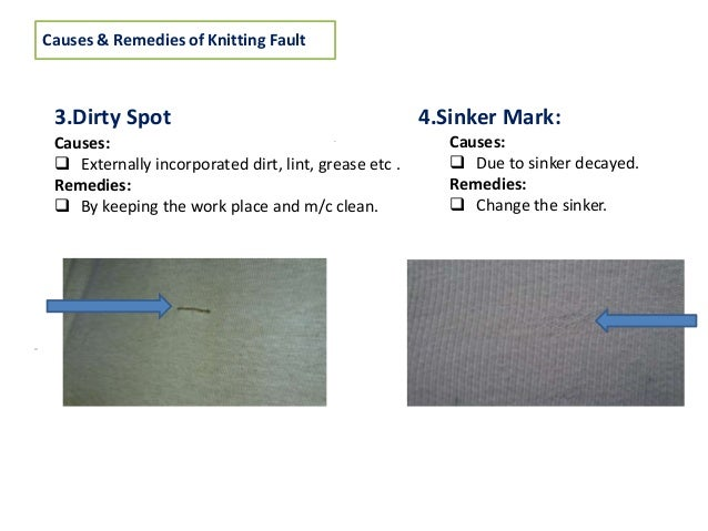 knitting faults In this study we have done study on knit fabric faults and their causes in textile industry faults are frequently occurred and stitch length has a direct effect on these faults.