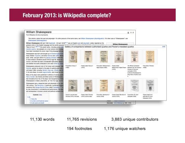 11,130 words   11,765 revisions      3,883 unique contributors               194 footnotes      1,176 unique watchers