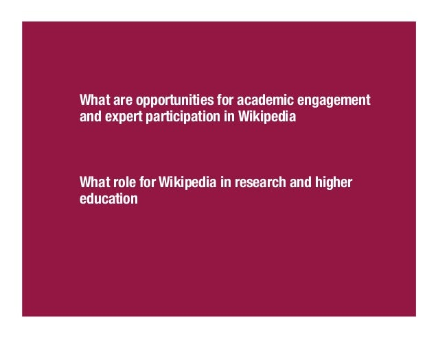 Wikipedia in the classroomhttp://outreach.wikimedia.org/wiki/Wikipedia_Education_Programhttp://outreach.wikimedia.org/wiki...