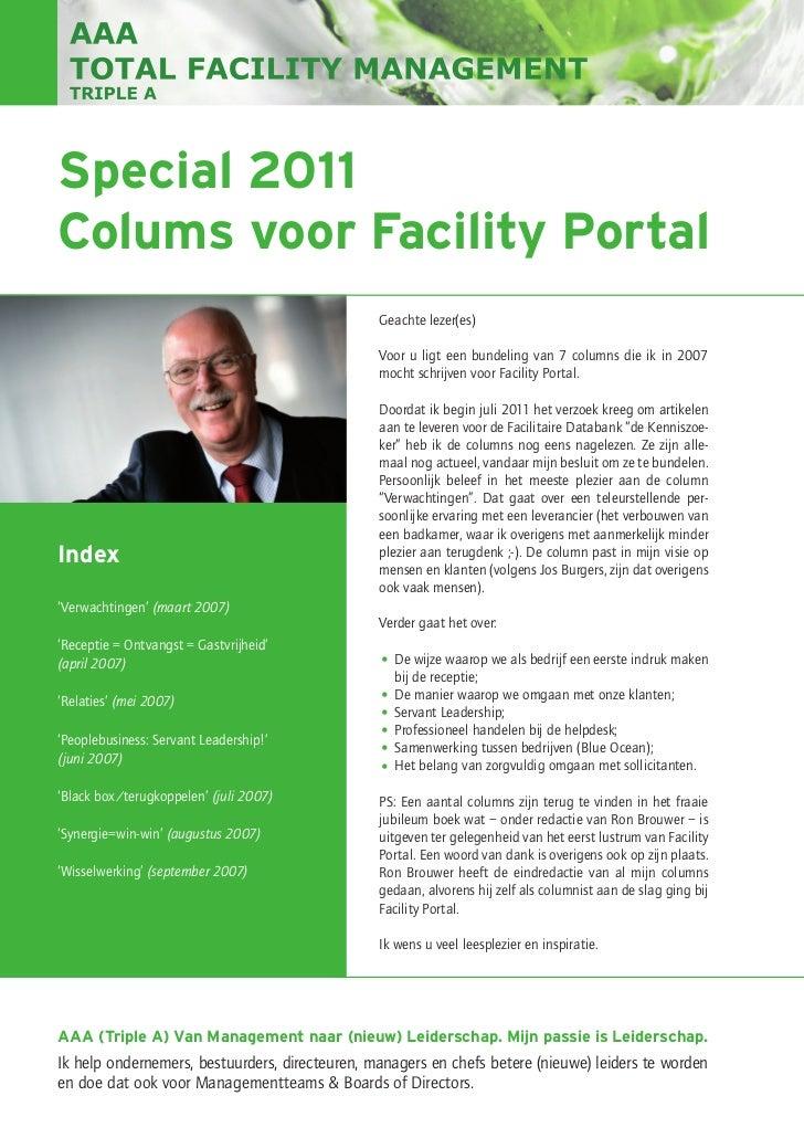 Special 2011Colums voor Facility Portal                                                Geachte lezer(es)                  ...