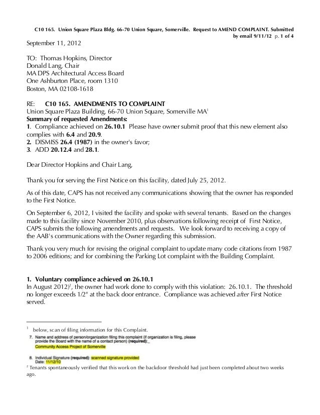 C10 165. Union Square Plaza Bldg. 66-70 Union Square, Somerville. Request to AMEND COMPLAINT. Submitted by email 9/11/12 p...