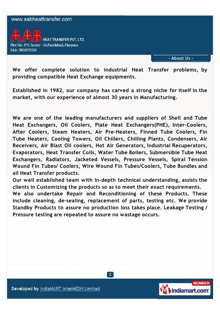 AAB Heat Transfer Pvt. Ltd., Faridabad, Plate Heat Exchangers Slide 2