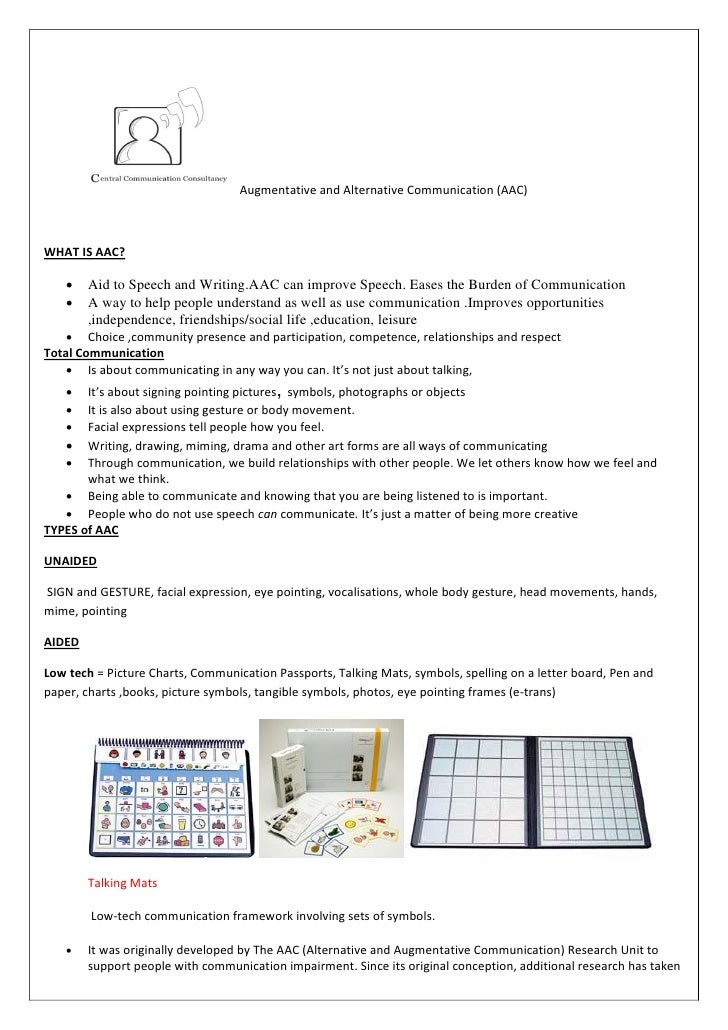 Augmentative and Alternative Communication (AAC)    WHAT IS AAC?         Aid to Speech and Writing.AAC can improve Speech...