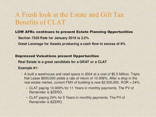 LOW AFRs continues to present Estate Planning Opportunities • Section 7520 Rate for January 2016 is 2.2% • Great Leverage ...