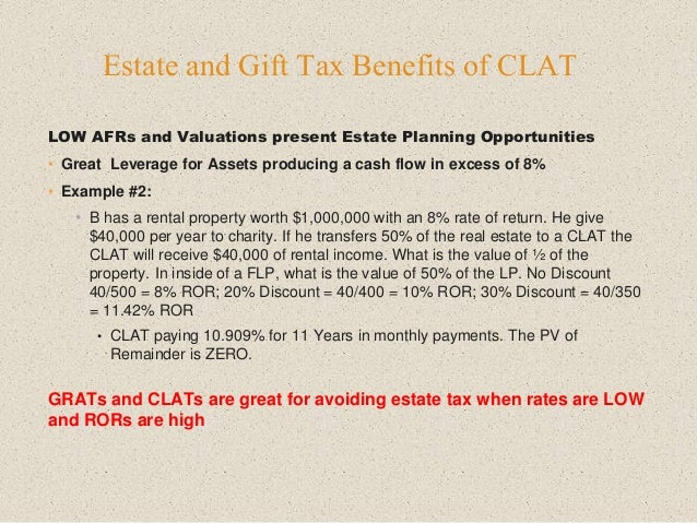 LOW AFRs and Valuations present Estate Planning Opportunities • Great Leverage for Assets producing a cash flow in excess ...