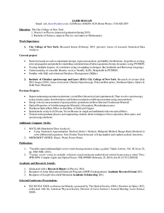 zabir hossain resume