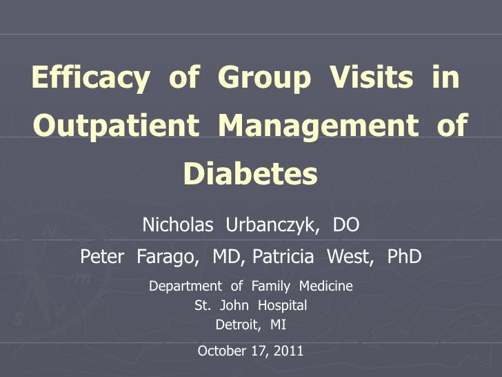 Efficacy  of  Group  Visits  in  Outpatient  Management  of Diabetes Nicholas  Urbanczyk,  DO Peter  Farago,  MD, Patricia...