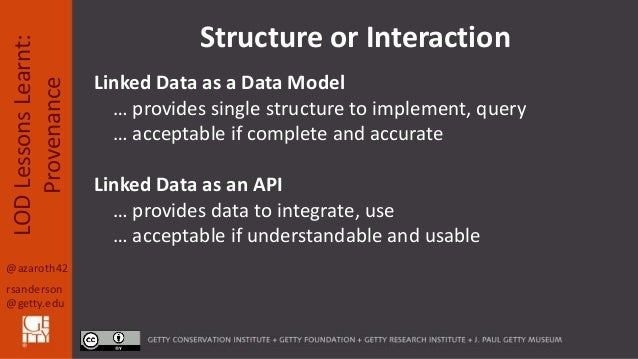 @azaroth42 rsanderson @getty.edu LODLessonsLearnt: Provenance Structure or Interaction Linked Data as a Data Model … provi...