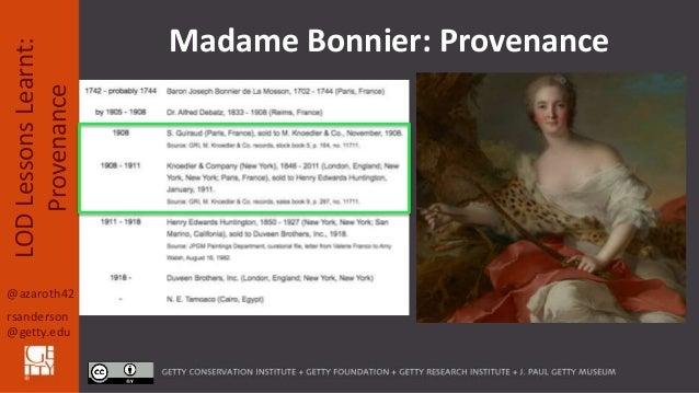 @azaroth42 rsanderson @getty.edu LODLessonsLearnt: Provenance Madame Bonnier: Provenance