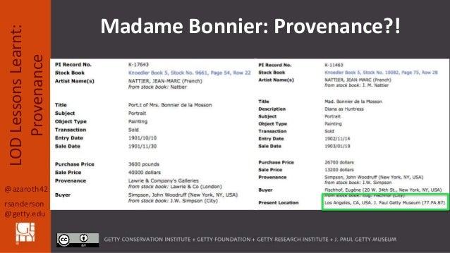 @azaroth42 rsanderson @getty.edu LODLessonsLearnt: Provenance Madame Bonnier: Provenance?!
