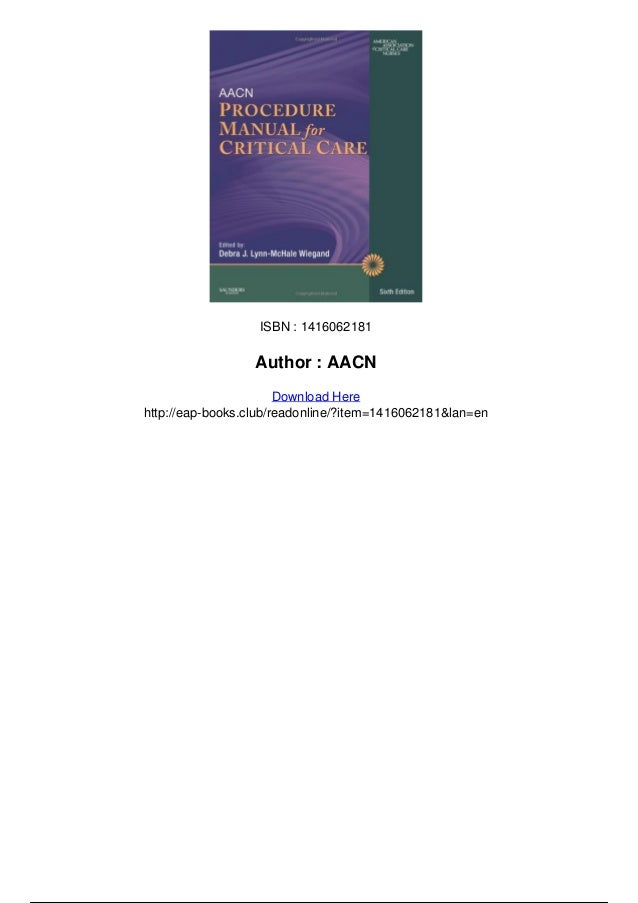 aacn procedure manual for critical care pdf free download