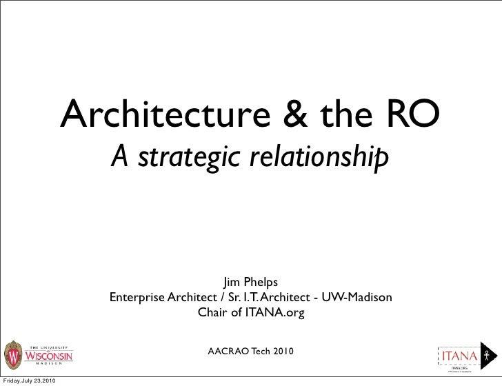 Architecture & the RO                         A strategic relationship                                                 Jim...
