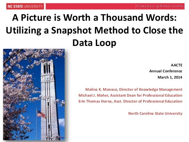 A Picture is Worth a Thousand Words: Utilizing a Snapshot Method to Close the Data Loop AACTE Annual Conference March 1, 2...