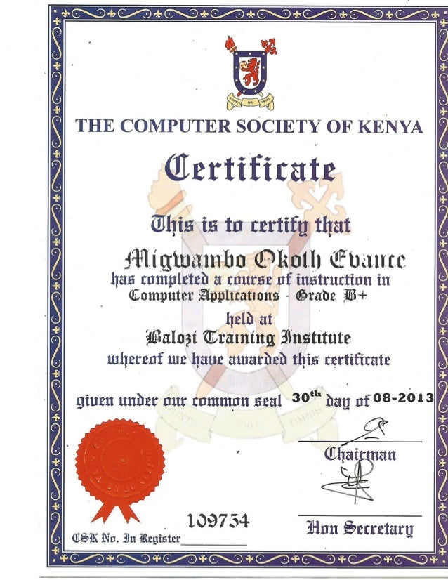 COMPUTER SOCIETY OF KENYA CERTIFICATE