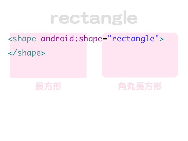 "rreeccttaannggllee<shape android:shape=""rectangle""></shape>     長方形                角丸長方形"