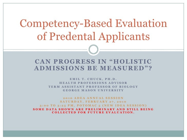 "Can progress in ""Holistic admissions be measured""?<br />Emil T. Chuck, Ph.D.<br />Health professions Advisor<br />Term Ass..."