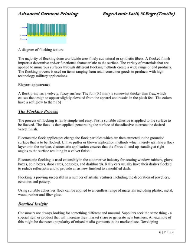 Advanced Garment Printing Engr.Azmir Latif, M.Engr.(Textile) 6   P a g e A diagram of flocking texture The majority of flo...