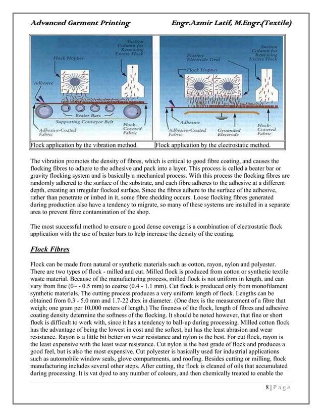 Advanced Garment Printing Engr.Azmir Latif, M.Engr.(Textile) 8   P a g e Flock application by the vibration method. Flock ...
