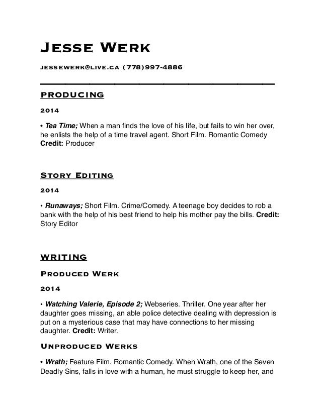 Writers Resume. Jesse Werk Jessewerk@live.ca (778)997 4886 ...  Help Writing A Resume
