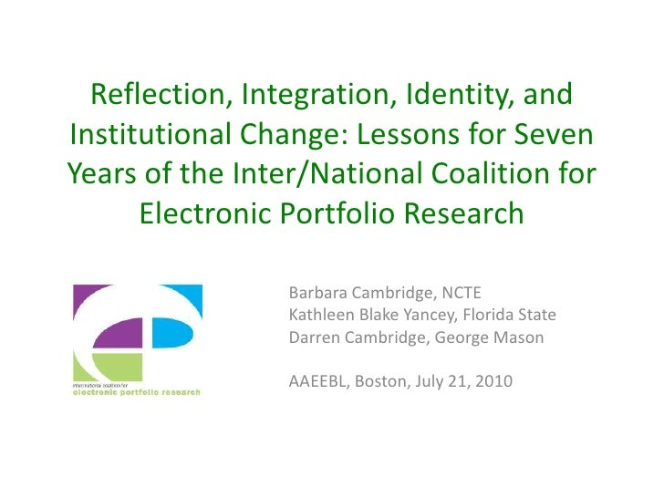 Reflection, Integration, Identity, and Institutional Change: Lessons for Seven Years of the Inter/National Coalition for E...