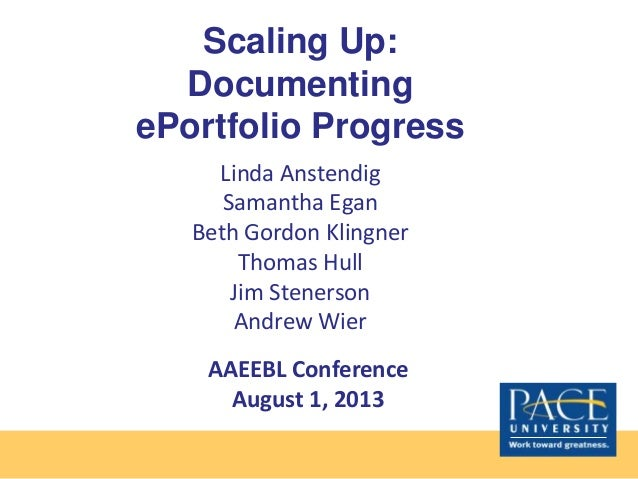 Scaling Up: Documenting ePortfolio Progress Linda Anstendig Samantha Egan Beth Gordon Klingner Thomas Hull Jim Stenerson A...