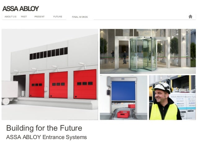 ABOUT US PAST PRESENT FUTURE FINAL WORDS  Building for the Future  ASSA ABLOY Entrance Systems