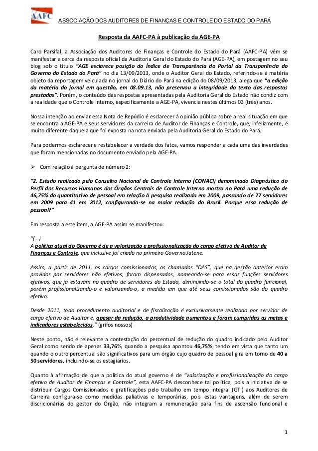 ASSOCIAÇÃO DOS AUDITORES DE FINANÇAS E CONTROLE DO ESTADO DO PARÁ 1 Resposta da AAFC-PA à publicação da AGE-PA Caro Parsif...