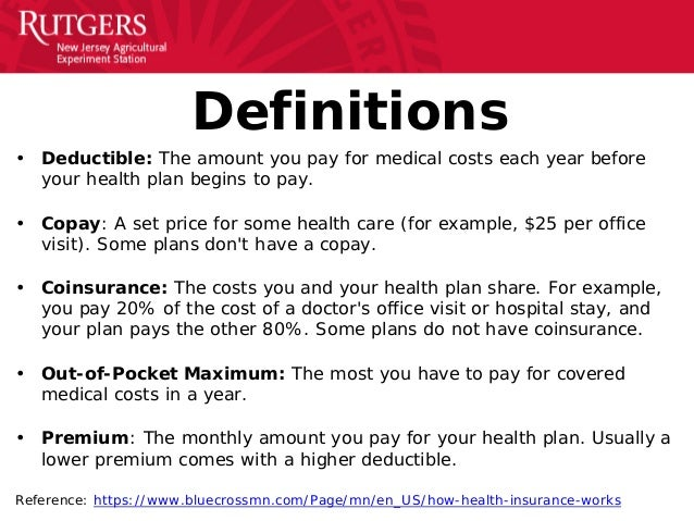 Image result for insurance copay deductible terms