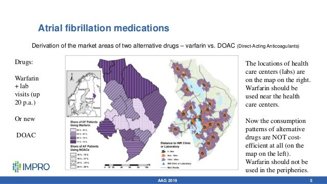 Atrial fibrillation medications Drugs: Warfarin + lab visits (up 20 p.a.) Or new DOAC The locations of health care centers...