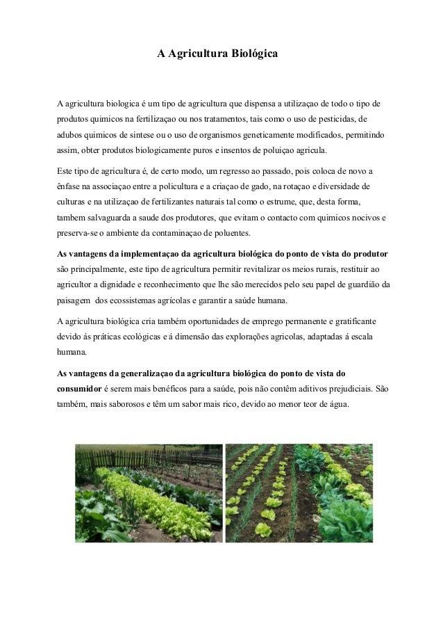 A Agricultura Biológica  A agricultura biologica é um tipo de agricultura que dispensa a utilizaçao de todo o tipo de prod...