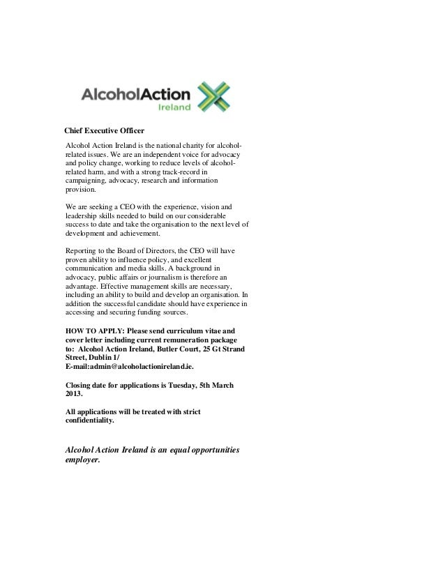 Chief Executive Officer Chief Executive OfficerAlcohol Action Ireland is the national charity for alcohol-related issues. ...