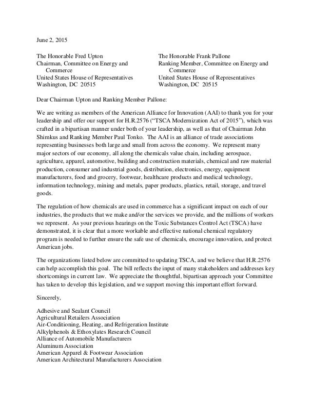 June 2, 2015 The Honorable Fred Upton Chairman, Committee On Energy And  Commerce United ...