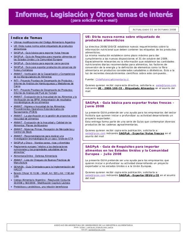 AASSOOCCIIAACCIIOONN AARRGGEENNTTIINNAA DDEE IINNGGEENNIIEERROOSS DDEE LLAA IINNDDUUSSTTRRIIAA AALLIIMMEENNTTAARRIIAA Web:...
