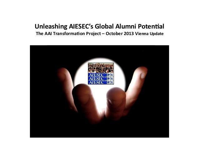 Unleashing  AIESEC's  Global  Alumni  Poten8al   The  AAI  Transforma8on  Project  –  October  2013...