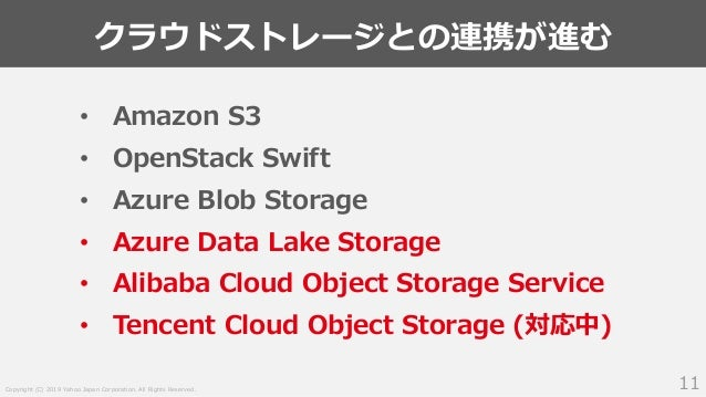 Copyright (C) 2019 Yahoo Japan Corporation. All Rights Reserved. クラウドストレージとの連携が進む 11 • Amazon S3 • OpenStack Swift • Azure...