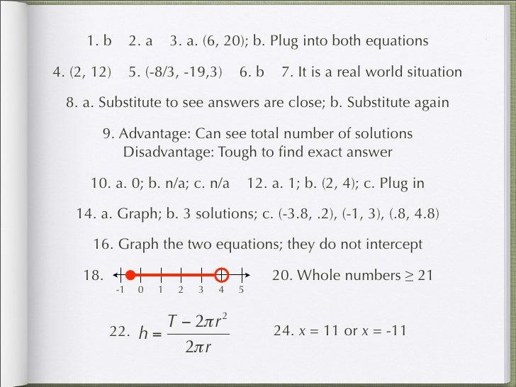 1. b         2. a       3. a. (6, 20); b. Plug into both equations  4. (2, 12)        5. (-8/3, -19,3)        6. b      7....