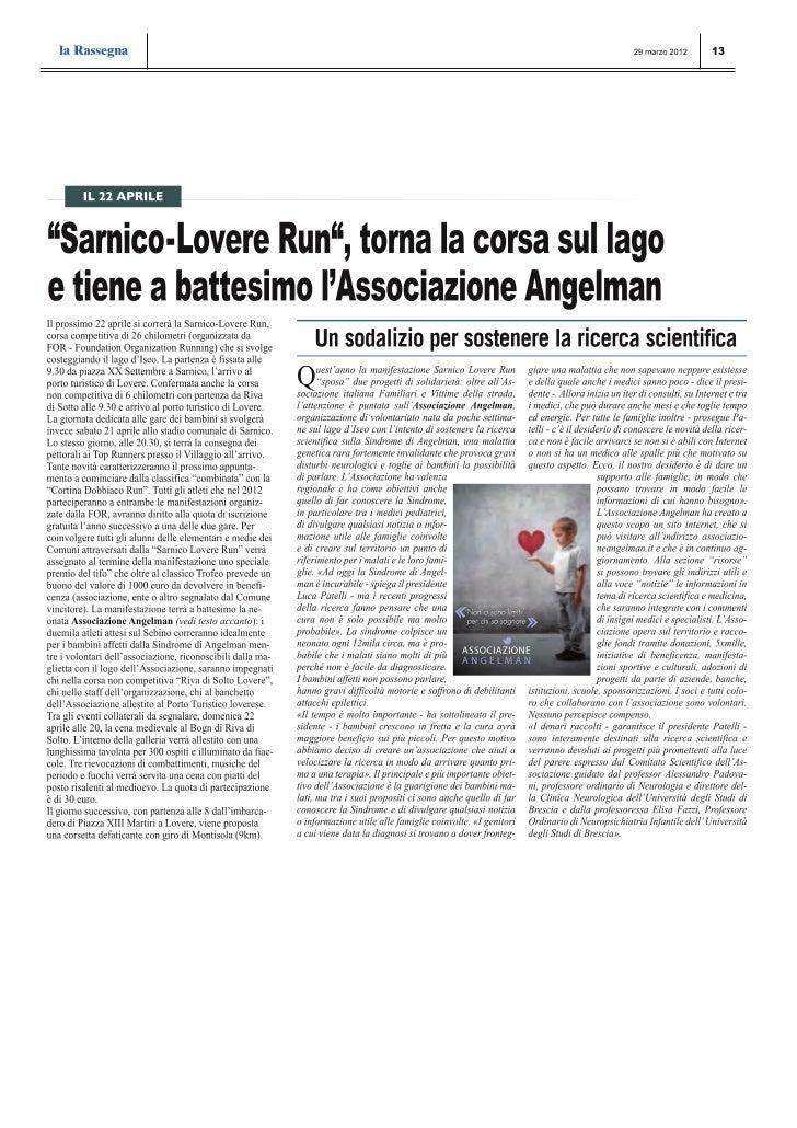 La rassegna: Sarnico Lovere Run tiene a battesimo l'Associazione Angelman